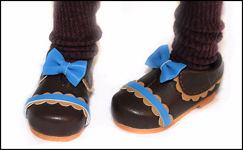 PinkGunDollhouse Limited Chocolate Brown & Azure Blue Shoes for Tobi