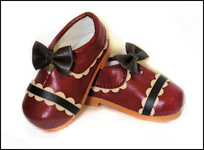 PinkGunDollhouse Limited Chocolate Cherry Red Shoes for Tobi