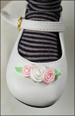 Mary Janes with Roses in White for Iris